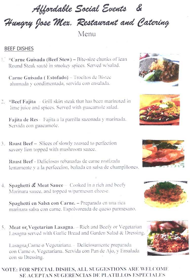 Hungry Jose Restaurant Catering Menu San Antonio