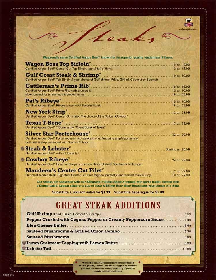 Saltgrass Steakhouse Restaurant Menu On The Riverwalk In