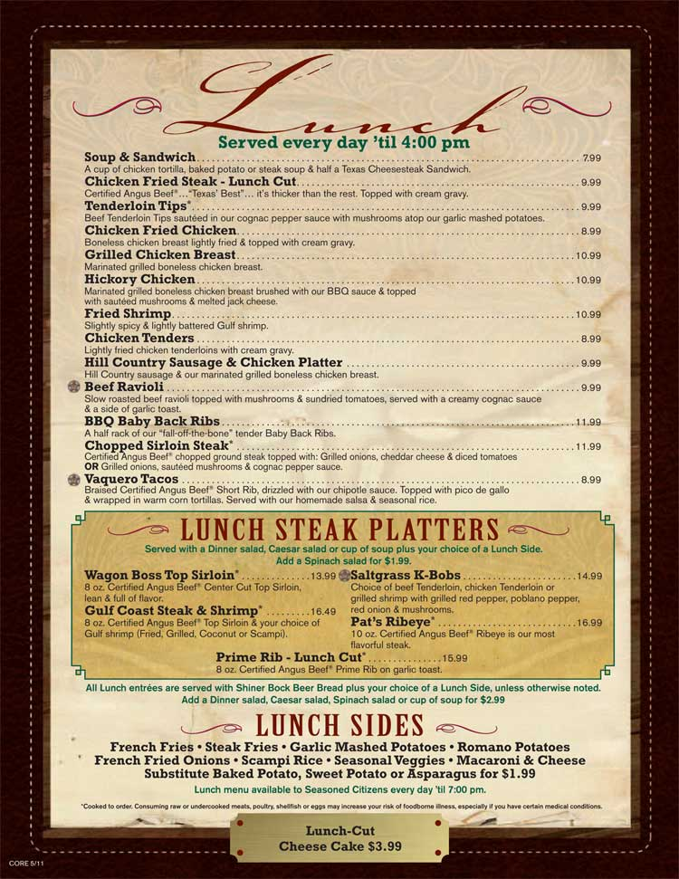 Saltgrass Steakhouse Restaurant Menu On The Riverwalk In