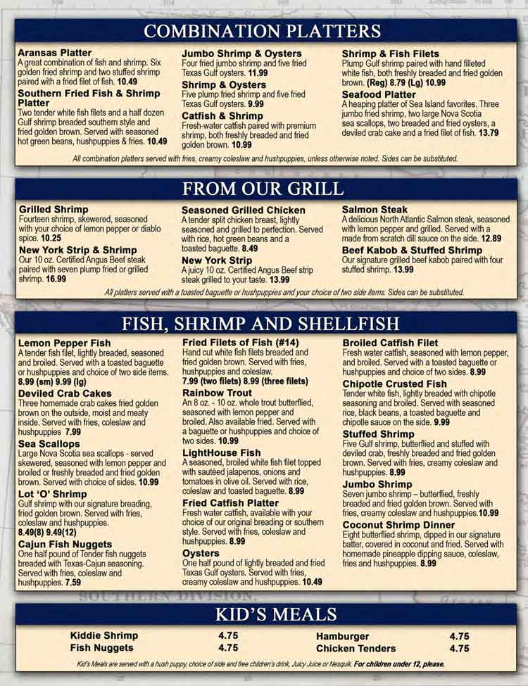 Sea Island Shrimp House Seafood Restaurant Menu In San Antonio
