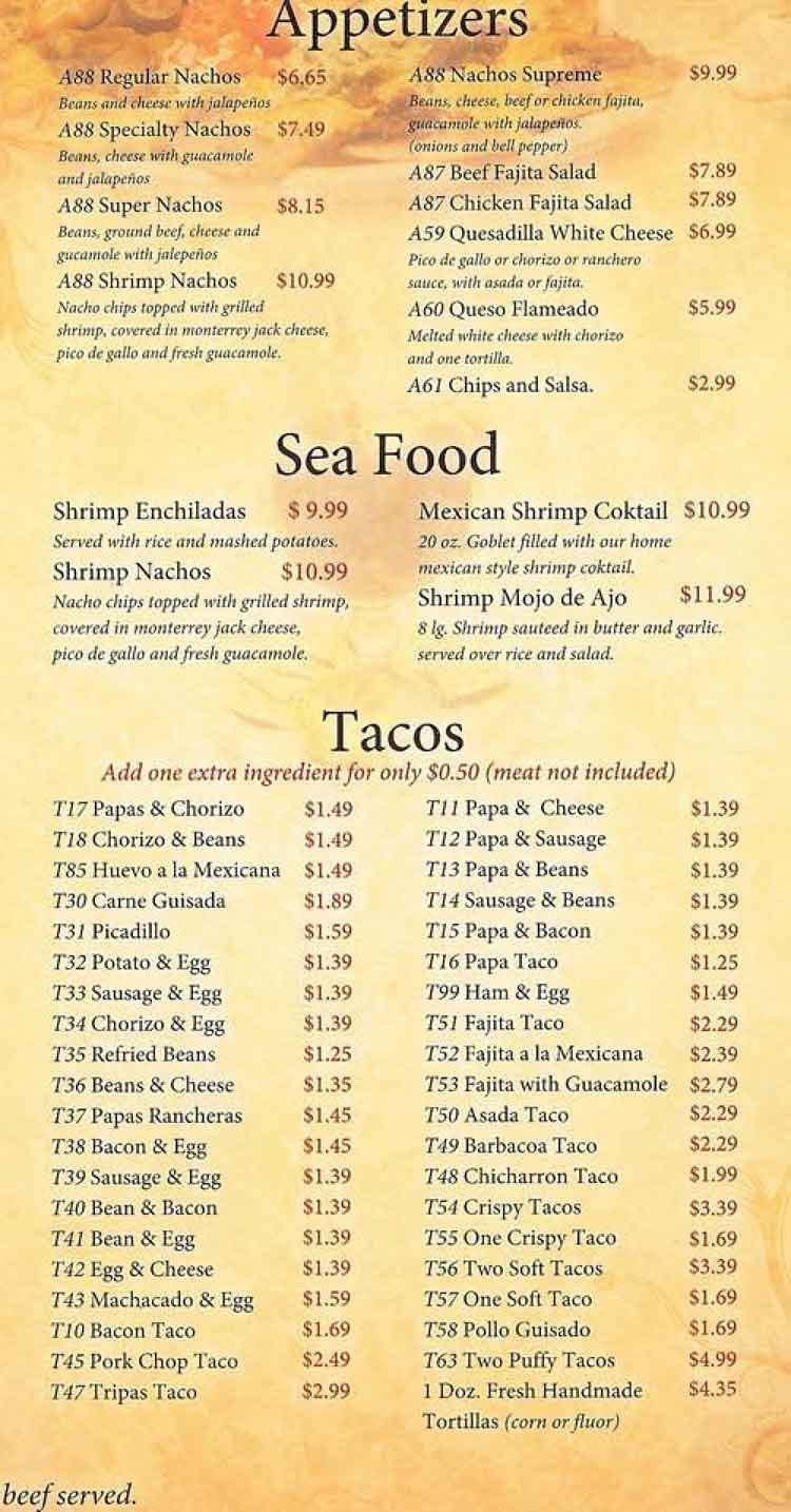 Tink A Tako Restaurant Menu San Antonio